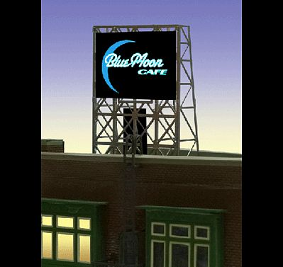 Micro Structures Blue Moon Cafe Flashing Neon Rooftop Billboard -- N Scale Model Railroad Billboard Sign -- #338960
