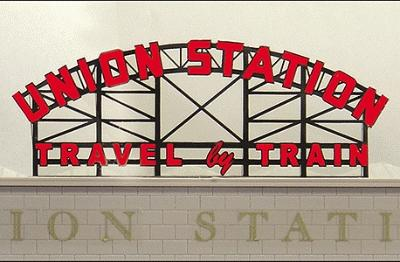 Micro Structures Union Station Animated Neon Billboard -- N Scale Model Railroad Sign -- #3882