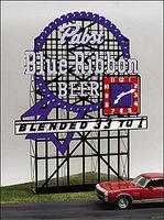 Micro-Structures Pabst Blue Ribbon Animated Neon Large Billboard HO Scale Model Railroad Sign #4081
