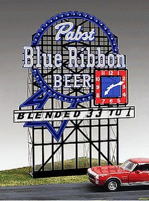 Micro Structures Pabst Blue Ribbon Animated Neon Small Billboard -- HO Scale Model Railroad Sign -- #4082