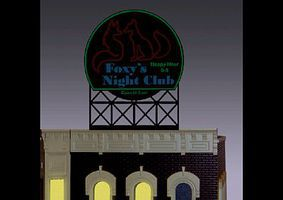 Micro-Structures Foxys Night Club Animated Neon Rooftop Billboard N/HO Scale Model Railroad Billboard #442252
