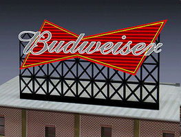 Micro-Structures Budweiser Beer Animated Neon Small Billboard N Scale Model Railroad Billboard Sign #4982