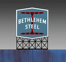 Micro-Structures Bethlehem Steel Animated Neon Small Billboard N Scale Model Railroad Billboard #5282