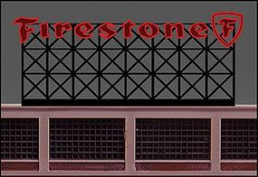Micro-Structures Firestone Animated Neon Large Billboard HO Scale Model Railroad Billboard #5381
