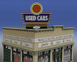 Micro-Structures OK Used Cars Animated Neon Billboard HO Scale Model Railroad Sign #5481