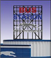Micro-Structures Greyhound Bus Station Animated Neon Billboard O Scale Model Railroad Sign #5681