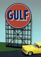 Micro-Structures Gulf Gasoline Animated Neon Billboard Kit N Scale Model Railroad Sign #6082
