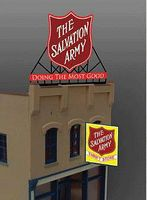 Micro-Structures Salvation Army Logo & Thrift Store Animated Large Billboard Kit HO Scale Model Sign #62981