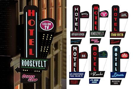 Hotel Motel Left Mount Animated Vertical Neon Sign Model Railroad Lighting Kit 68811