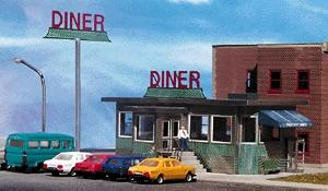 Micro Structures Parkway Diner Kit -- HO Scale Model Railroad Building -- #871001