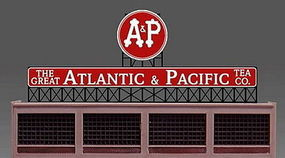 Micro-Structures Atlantic & Pacific Tea Animated Neon Billboard HO Scale Model Railroad Sign #880151