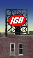 Micro-Structures IGA Flashing Neon Window Sign HO Scale Model Railroad Sign #8915