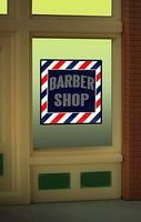 Micro-Structures Barber Shop Flashing Neon Window Sign HO Scale Model Railroad Sign #8930
