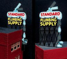 Micro-Structures Standard Plumbing Supply Animated Neon Billboard Kit Model Railroad Accessory #9181
