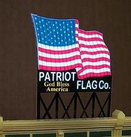Micro-Structures Patriot Flag Co. Animated Neon Billboard Kit Model Railroad Accessory #9482