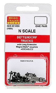 Micro Trains Line Bettendorf Trucks - With Couplers, Extended Bolster 1 Pair -- N Scale Model Train Truck -- #302024