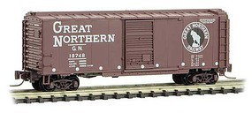 Micro-Trains 40 Single-Door Boxcar - Ready to Run Great Northern X179 (Boxcar Red, white, Large Rocky, GN Circus Series No. 8) - Z-Scale