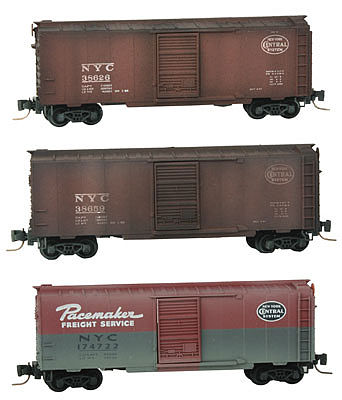 Micro Trains Line 40' Single-Door Boxcar 3-Car Runner Pack NYC -- Z Scale Model Train Freight Car -- #50044490