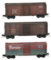 Micro-Trains 40 Single-Door Boxcar 3-Car Runner Pack NYC Z Scale Model Train Freight Car #50044490