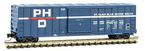 Micro-Trains 50 Rib-Side Single-Door Boxcar No Roofwalk - Ready to Run Port Huron & Detroit #1042 (blue, white, red, Per Diem Series #12) - Z-Scale