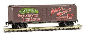 Micro-Trains 40 Wood-Sheathed Ice Reefer - Ready to Run Heinz 374 (Boxcar Red, red, green, Apple Butter, Heinz Series 1) - Z-Scale