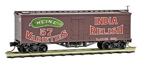 Micro-Trains 36 Wood-Sheathed Ice Reefer - Ready to Run Heinz 305 (Boxcar Red, red, Billboard 57, green, India Relish, Series Car 7) - N-Scale