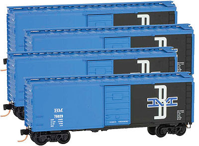 Micro Trains Line Boxcar Runner Pack Boston & Maine (4) -- N Scale Model Train Freight Car Set -- #99300103