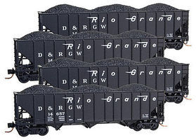 Micro-Trains 100-Ton 3-Bay Ribside Open Hopper w/Coal Load 4-Car Runner Pack - Ready to Run Denver & Rio Grande Western #14657, 14722, 14986, 14990 (black) - N-Scale