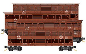 Micro-Trains 40 Despatch Stock Car 4-Pack - Ready to Run Missouri Pacific 54116, 54130, 54133, 54145 (Boxcar Red, white, Buzz Saw) - N-Scale