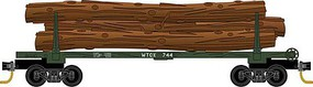 Micro-Trains 30 Skeleton Log Car with Log Load 4-Pack - Ready to Run Weyerhaeuser WTCX 744, 751, 762, 772 (green) - N-Scale