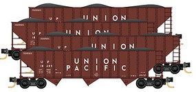 Micro-Trains 100-Ton 3-Bay Ribside Open Hopper w/Coal Load - Ready to Run Union Pacific (Boxcar Red, white) - N-Scale