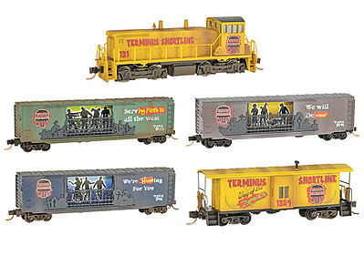Micro Trains Line Zombie Halloween Train-Only Set - Terminus Shortline -- N Scale Model Train Set -- #99321230