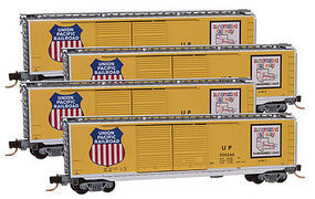 Micro-Trains 50 Std Boxcar Runner Pack Union Pacific (4) Z Scale Model Train Freight Car Set #99400080