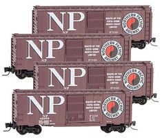 Micro-Trains 40 Single-Door Boxcar 4-Car Runner Pack - Ready to Run Northern Pacific #42998, 43066, 43070, 43255 (Boxcar Red, Billbaord NP & Log - Z-Scale