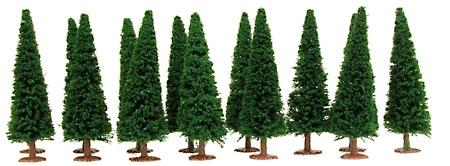 Model Power Evergreen Trees Dark Green (14) -- HO Scale Model Railroad Tree -- #1425