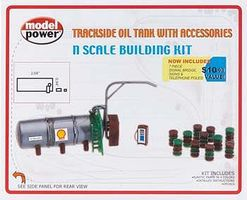 Model-Power Trackside Oil Tank Kit with Accessories N Scale Model Railroad Building #1470