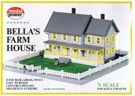 Model Power Bella's Farm House Kit -- N Scale Model Railroad Building -- #1559