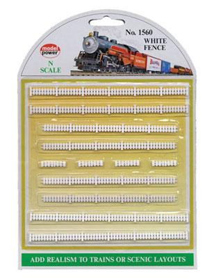 Model Power White Fences -- N Scale Model Railroad Trackside Accessory -- #1560