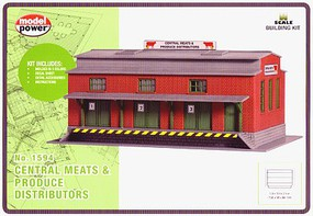 Model-Power Central Meat & Produce Kit N Scale Model Railroad Building #1594