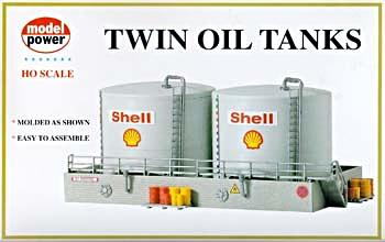 Model Power Twin Oil Tanks Kit -- HO Scale Model Railroad Building -- #308