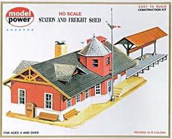 Model-Power Station & Freight Shed Kit HO Scale Model Railroad Building #427