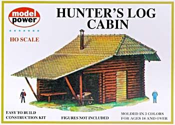 Model Power Hunter's Log Cabin Kit -- HO Scale Model Railroad Building -- #434