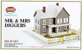 Model-Power Mr. & Mrs. Diggers House Kit HO Scale Model Railroad Building #489