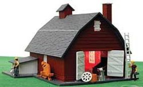 Model-Power Lighted Horse Stable with Figures Built-Up HO Scale Model Railroad Building #5670
