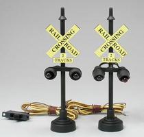 Model-Power Crossing Signal Set (2) O Scale Model Railroad Operating Accessory #6381