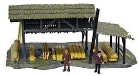 Model-Power Lumber Shed with Figures Built-Up HO Scale Model Railroad Building #642
