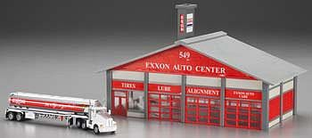 Model Power Exxon Station with Tanker Built-Up -- HO Scale Model Railroad Building -- #689