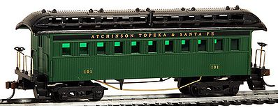 Model Power 1890 Wooden-Type Coach Santa Fe (Re-Issue) -- HO Scale Model Train Passenger Car -- #716100