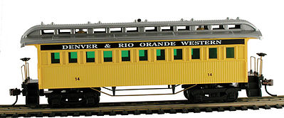 Model Power 1890 Wooden-Type Coach D&RGW (Re-Issue) -- HO Scale Model Train Passenger Car -- #719008
