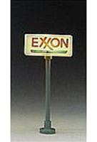 Model-Power Lighted Gas Station Signs pkg(2) Exxon N Scale Model Railroad Billboard Sign #8579